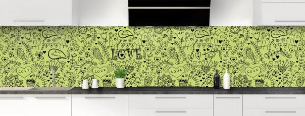 Crédence de cuisine Love illustration couleur vert olive panoramique