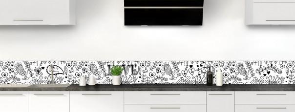 Crédence de cuisine Love illustration couleur blanc dosseret