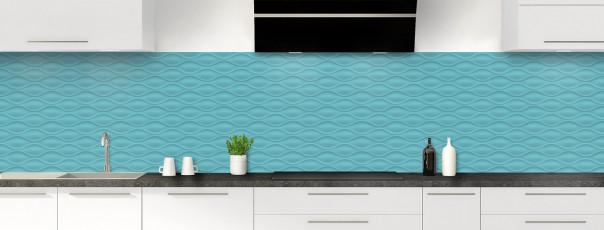 Crédence de cuisine Motif vagues couleur bleu lagon panoramique