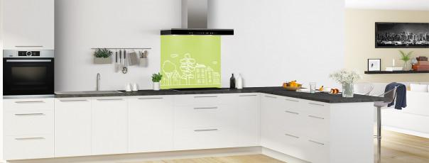 Crédence de cuisine Dessin de ville couleur vert olive fond de hotte en perspective