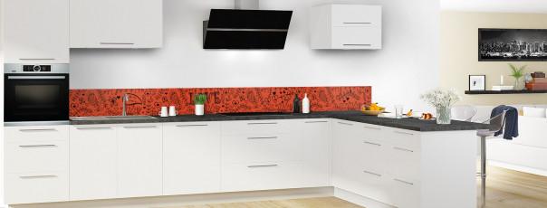 Crédence de cuisine Love illustration couleur rouge brique dosseret en perspective