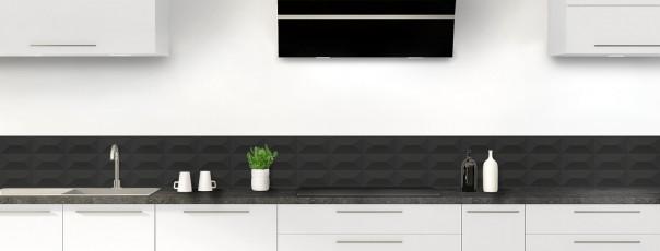 Crédence de cuisine Briques en relief couleur noir dosseret