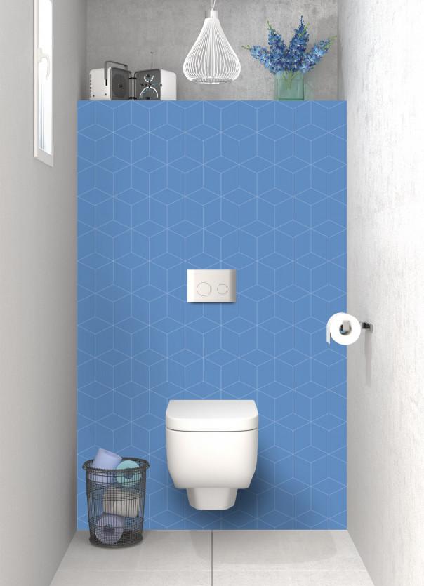 Panneau WC Cubes en relief couleur bleu lavande