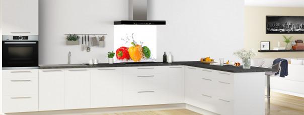 Crédence de cuisine Aqua et poivrons fond de hotte en perspective