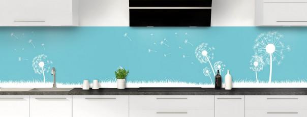 Crédence de cuisine Pissenlit au vent couleur bleu lagon panoramique motif inversé