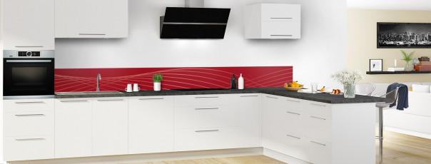 Crédence de cuisine Courbes couleur rouge carmin dosseret motif inversé en perspective