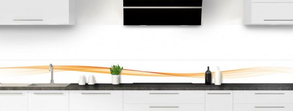 Crédence de cuisine Vague graphique couleur abricot dosseret