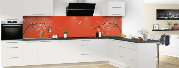 Crédence de cuisine Cerisier japonnais couleur rouge brique panoramique motif inversé en perspective