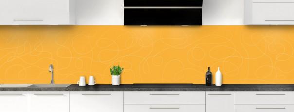 Crédence de cuisine Gribouillis couleur abricot panoramique