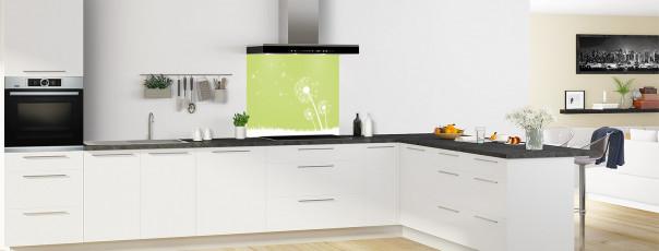 Crédence de cuisine Pissenlit au vent couleur vert olive fond de hotte motif inversé en perspective