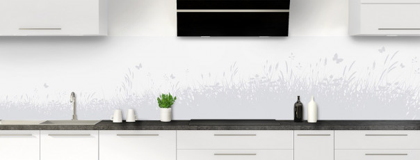 Crédence de cuisine Prairie et papillons couleur gris clair panoramique motif inversé