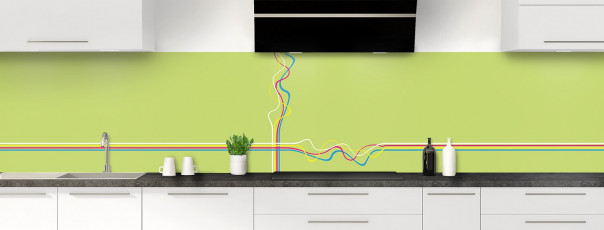 Crédence de cuisine Light painting couleur vert olive panoramique