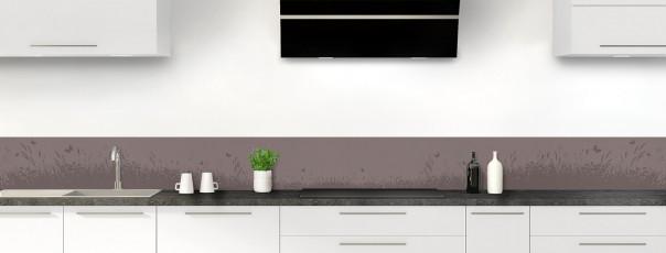 Crédence de cuisine Prairie et papillons couleur taupe dosseret motif inversé