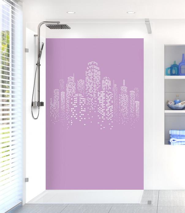 Panneau de douche Gratte-ciels couleur parme