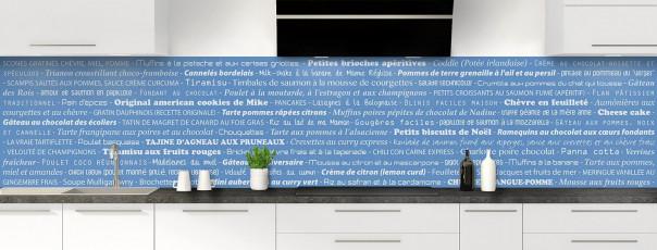 Crédence de cuisine Recettes de cuisine couleur bleu lavande panoramique