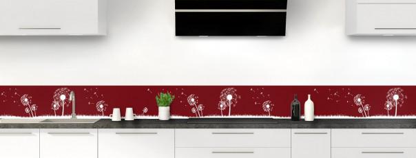 Crédence de cuisine Pissenlit au vent couleur rouge pourpre dosseret motif inversé