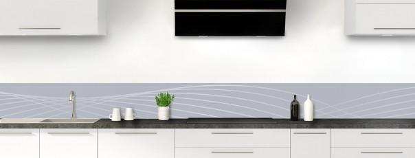 Crédence de cuisine Courbes couleur gris métal dosseret motif inversé
