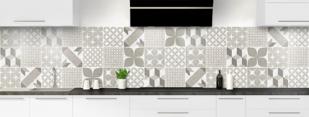 Crédence de cuisine Carreaux de ciment patchwork taupe panoramique