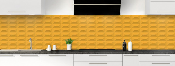 Crédence de cuisine Briques en relief couleur abricot panoramique