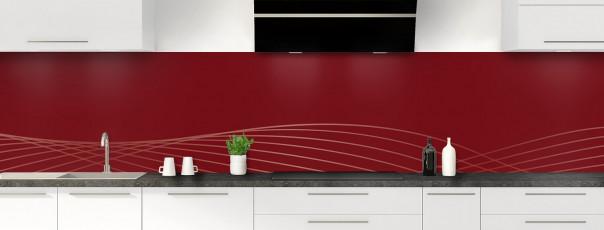 Crédence de cuisine Courbes couleur rouge pourpre panoramique motif inversé