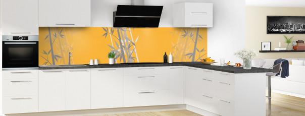 Crédence de cuisine Bambou zen couleur abricot panoramique motif inversé en perspective