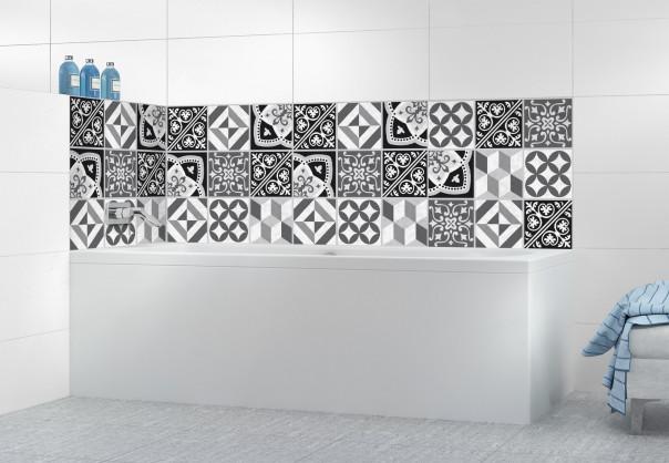 Panneau de bain Carreaux de ciment contemporain  Noir et Blanc