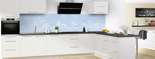Crédence de cuisine Dessin de ville couleur bleu azur panoramique en perspective