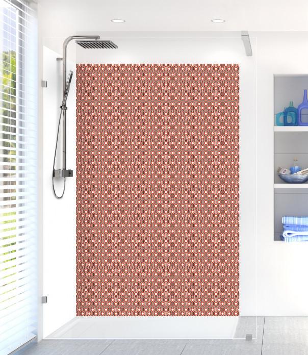 Panneau de douche Hexagones  couleur rouge brique