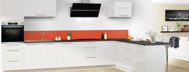 Crédence de cuisine Lignes horizontales couleur rouge brique dosseret en perspective