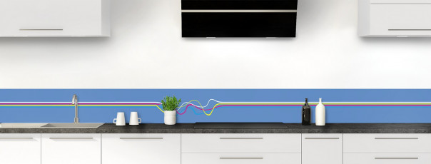 Crédence de cuisine Light painting couleur bleu lavande dosseret motif inversé