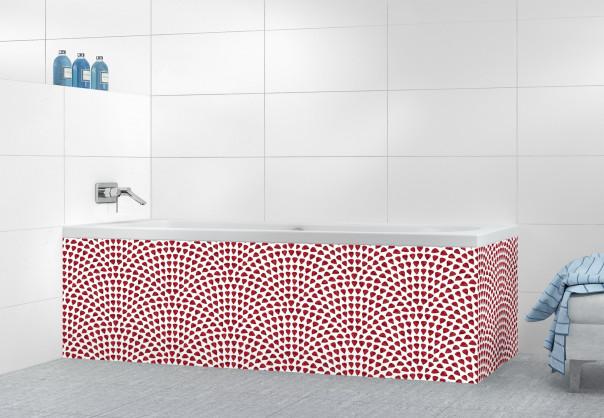 Panneau tablier de bain Mosaïque petits cœurs couleur rouge pourpre