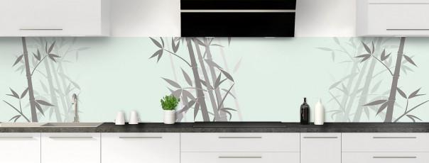 Crédence de cuisine Bambou zen couleur vert eau panoramique motif inversé