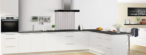 Crédence de cuisine Petites Feuilles Blanc couleur taupe fond de hotte en perspective