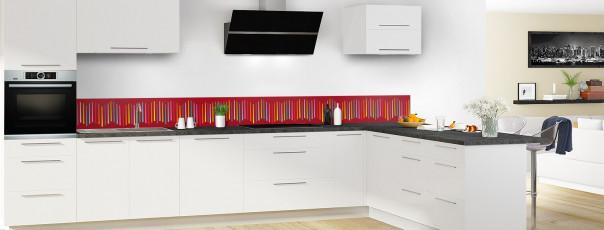 Crédence de cuisine Barres colorées couleur rouge carmin dosseret en perspective