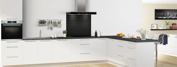 Crédence de cuisine Lignes horizontales couleur noir fond de hotte en perspective