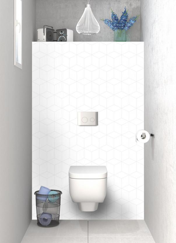 Panneau WC Cubes en relief couleur blanc