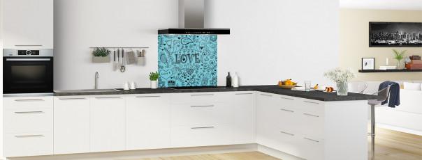 Crédence de cuisine Love illustration couleur bleu lagon fond de hotte en perspective