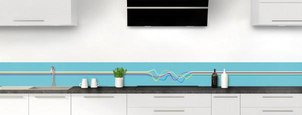 Crédence de cuisine Light painting couleur bleu lagon dosseret