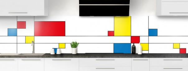 Crédence de cuisine Rectangles Mondrian panoramique