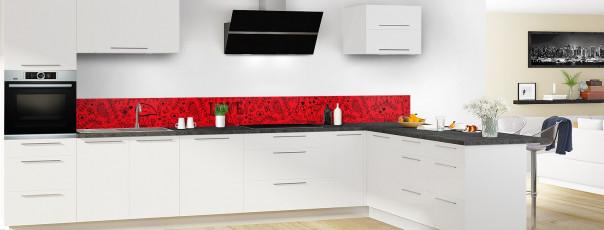 Crédence de cuisine Love illustration couleur rouge vif dosseret en perspective