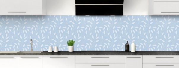 Crédence de cuisine Rideau de feuilles couleur bleu azur panoramique