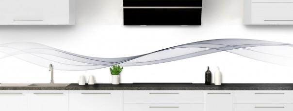 Crédence de cuisine Vague graphique couleur gris métal panoramique motif inversé