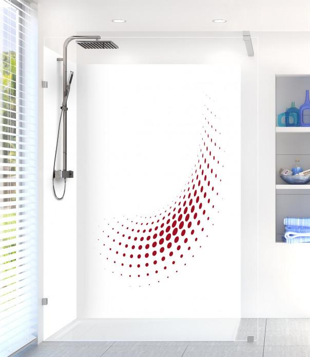 Panneau de douche Nuage de points couleur rouge carmin motif inversé