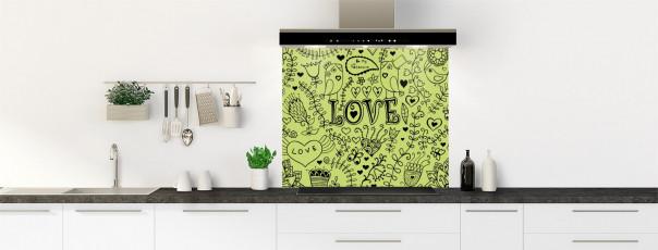 Crédence de cuisine Love illustration couleur vert olive fond de hotte
