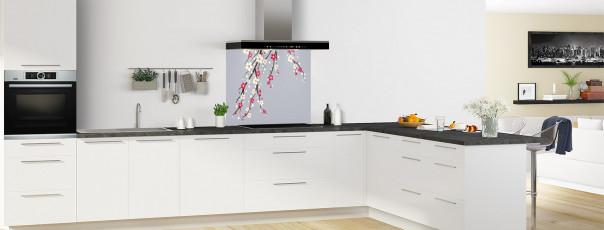 Crédence de cuisine Arbre fleuri couleur gris métal fond de hotte motif inversé en perspective
