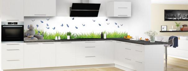 Crédence de cuisine Galets et papillons Blanc panoramique motif inversé en perspective