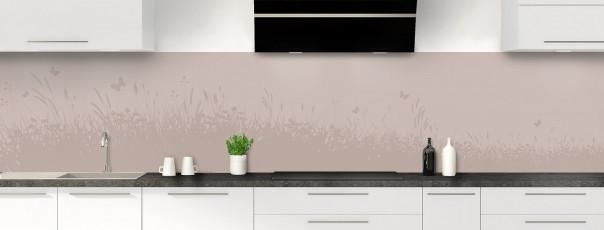 Crédence de cuisine Prairie et papillons couleur argile panoramique