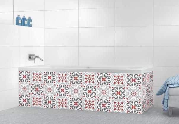 Panneau tablier de bain Carreaux de ciment riad Rouge