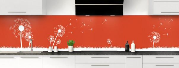 Crédence de cuisine Pissenlit au vent couleur rouge brique panoramique