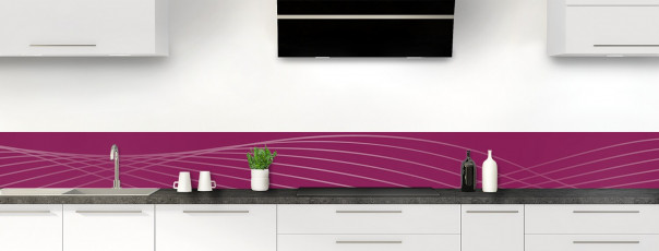 Crédence de cuisine Courbes couleur prune dosseret motif inversé